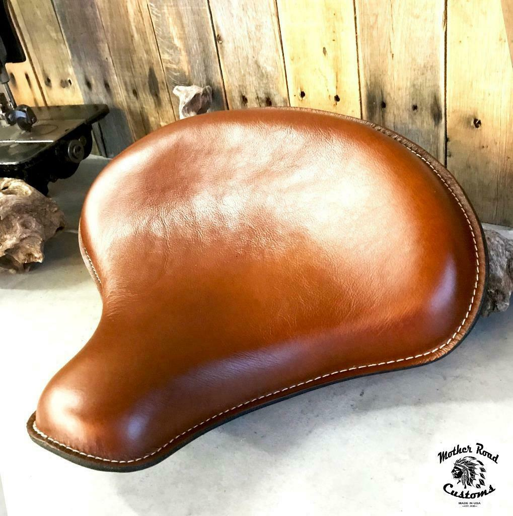 "Spring Seat 2017-2020 Triumph Bobber Solo Tractor "" Desert Tan Leather - Mother Road Customs"