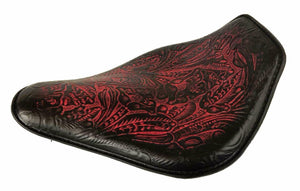 Harley Sportster Honda Spring Seat11x14 Ant Red Tooled Snub Nose Chopper Bobber - Mother Road Customs