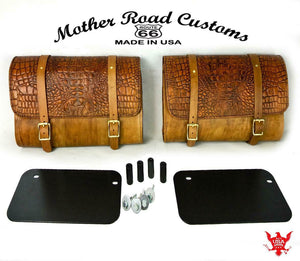 2015-2020 Indian Scout Leather Saddle Bags With Mounting Hardware Gel Tan Gator - Mother Road Customs