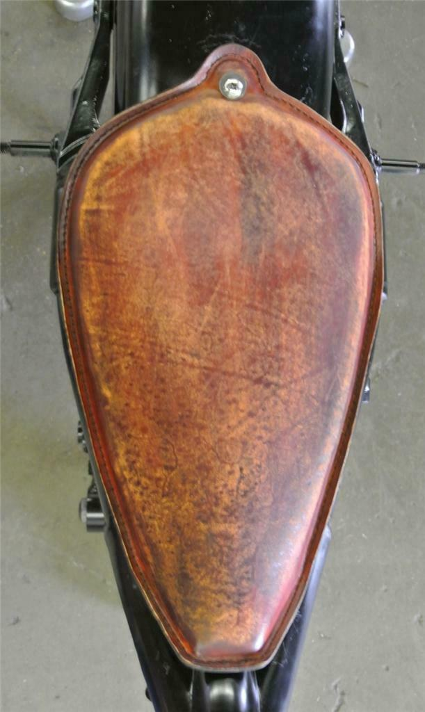 Harley Sportster 1982-2003 Brown Distressed Leather On The Frame Seat  Steel USA - Mother Road Customs