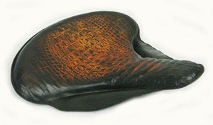 "17x16"" Spring Solo Tractor Seat Harley Touring Indian Chief Ant Brown Alligator - Mother Road Customs"