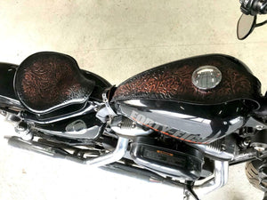 Tank Bib 2004-2020 Harley Sportster Antique Black Copper Leather Fits All Models