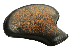 "2017-2020 Triumph Bobber 15x14"" Ant Brown Tooled Leather Solo Tractor Seat - Mother Road Customs"