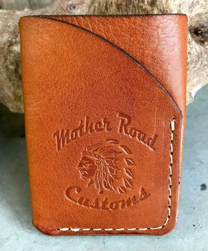4 Banger Minimalist Men's Women's Tan Tooled Sepichi Veg Tan Leather Wallet - Mother Road Customs