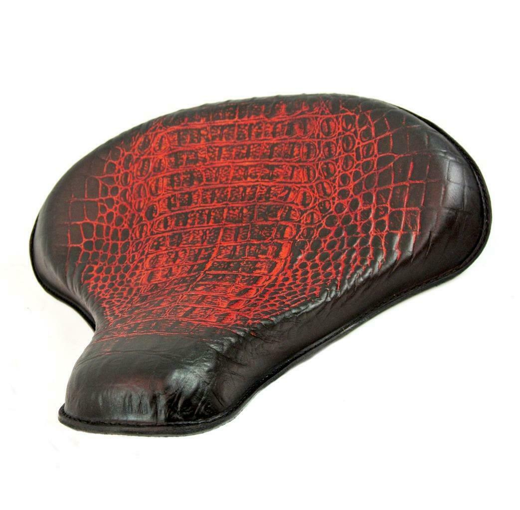 "2017-2020 Triumph Bobber 15x14"" Ant Red Alligator Leather Solo Tractor Seat - Mother Road Customs"