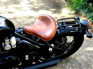 "2017-2020 Triumph Bobber Seat Solo 15x14"" Brown Leather Tractor With Leg Skirts - Mother Road Customs"