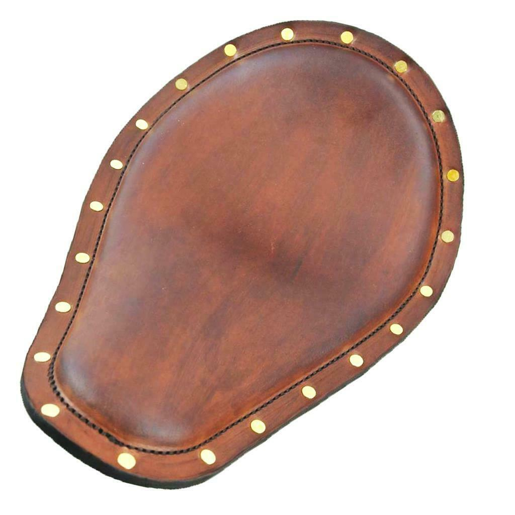 "Spring Solo Seat Brass Rivets Harley Sportster Chopper 11x13 1/2"" Brown Leather"
