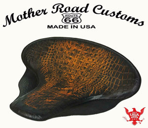 "Spring Solo Tractor Seat Harley Touring Indian Chief 17x16"" Ant Brn Alligator - Mother Road Customs"