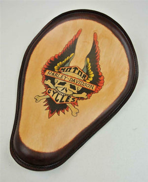Spring Solo Seat Chopper Harley Sportster Harley Wing Tattoo Brn Frame Made USA