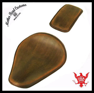 Spring Seat P-Pad Harley Sportster Chopper Bobber 10x13 201 Brown Dist Leather