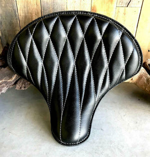 Spring Solo Tractor Seat Chopper Scout Bobber Harley 15x14 Black Diamond Leather - Mother Road Customs