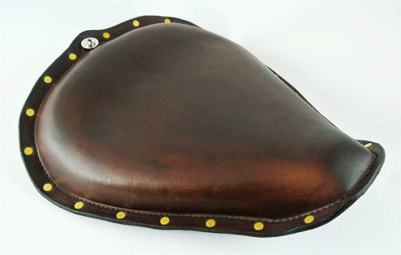 2010-2020 Sportster Harley  On The Frame Seat 201 Distressed Brown Brass Rivets - Mother Road Customs