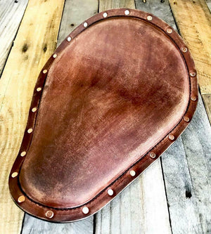 "12x15"" Brn Dist Leather Seat Copper Rivets Harley Sportster Chopper Bobber USA! - Mother Road Customs"