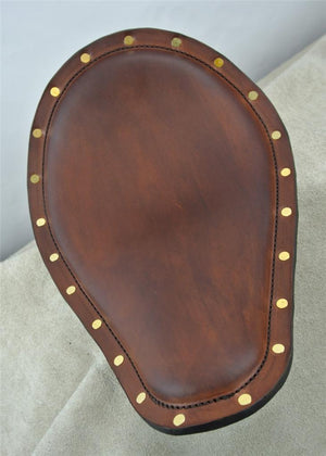 Seat Spring Chopper Harley Sportster Smooth Brown Brass Rivets Leather Banana - Mother Road Customs
