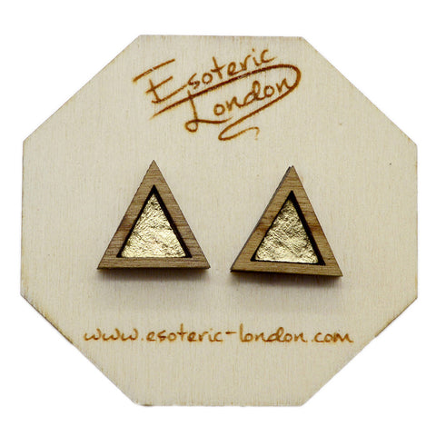 Leather Inlay Stud Earrings - Triangles