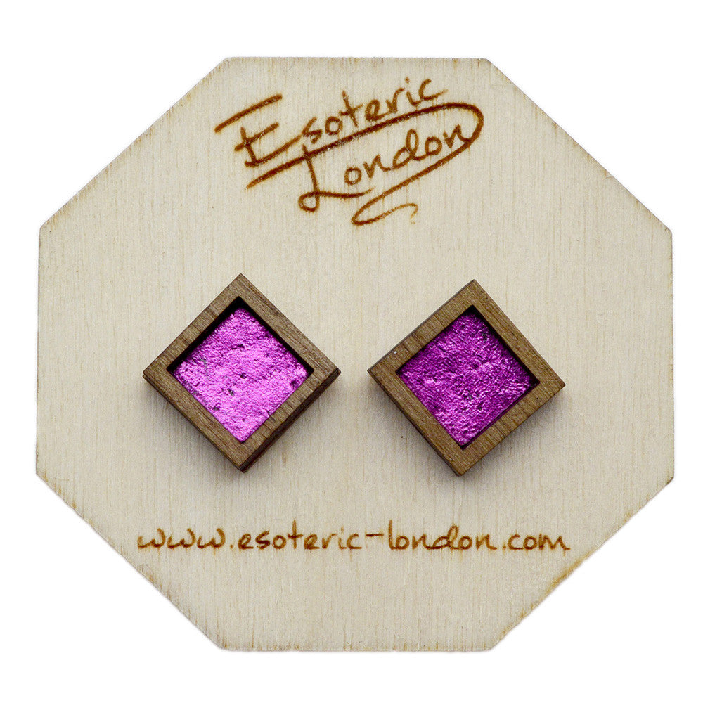 Leather Inlay Stud Earrings - Squares