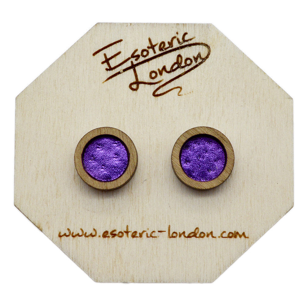 Leather Inlay Stud Earrings - Circles
