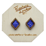 Leather Inlay Stud Earrings - Diamonds