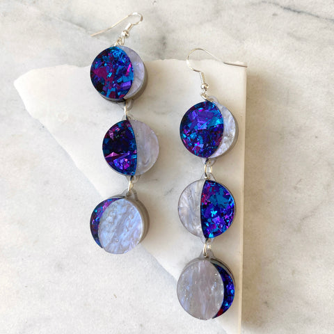 Moon Phase Long Dangle Earrings -  Purple, Lilac & Blue