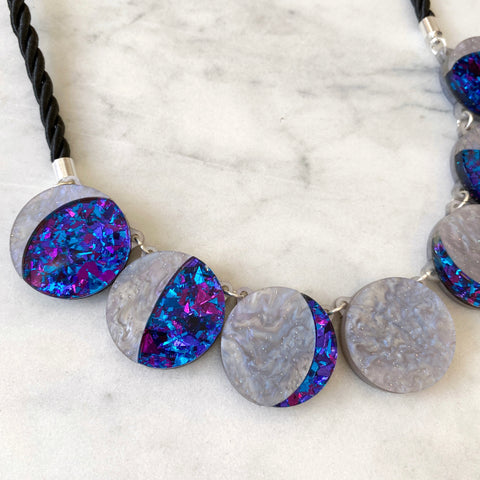 Moon Phase Statement Necklace -  Purple, Lilac & Blue