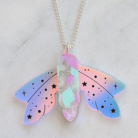 Recycled Acrylic Celestial Moth Necklace