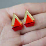 Classic Geometric Stud Earrings - Gold/ Orange Red/ Cherry Red