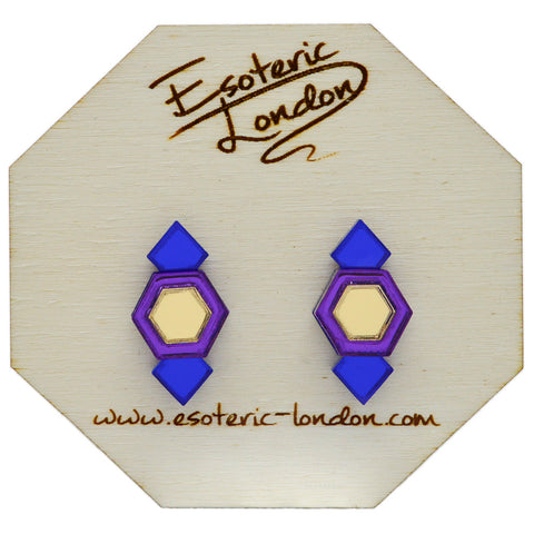 Yellow Geometric Glitter Stud Earrings