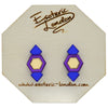 Classic Geometric Stud Earrings - Royal Blue/ Purple/ Gold