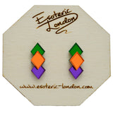 Classic Geometric Stud Earrings - Orange/ Green/ Purple