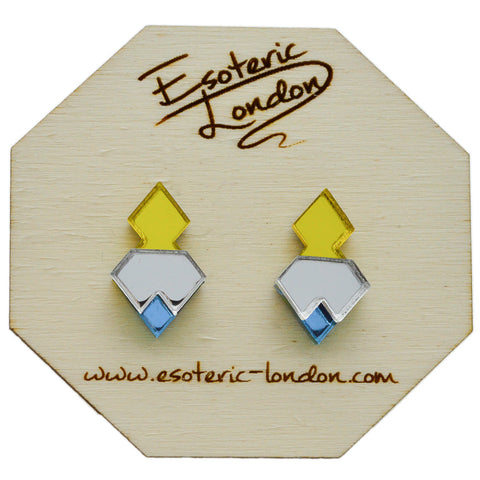 Silver Hexagon Geometric Glitter Stud Earrings