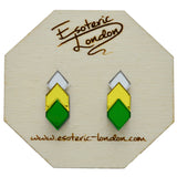 Classic Geometric Stud Earrings - Silver/ Yellow/ Green
