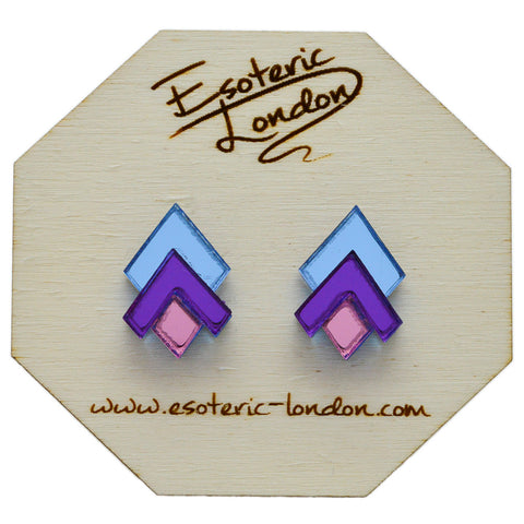 Purple Circle Geometric Glitter Stud Earrings