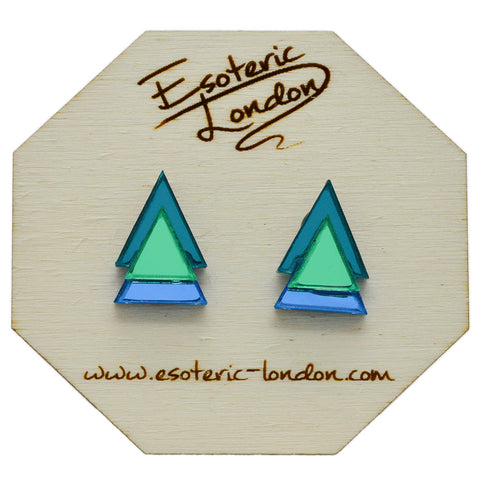 Classic Geometric Stud Earrings - Bright Blue/ Purple/ Pink