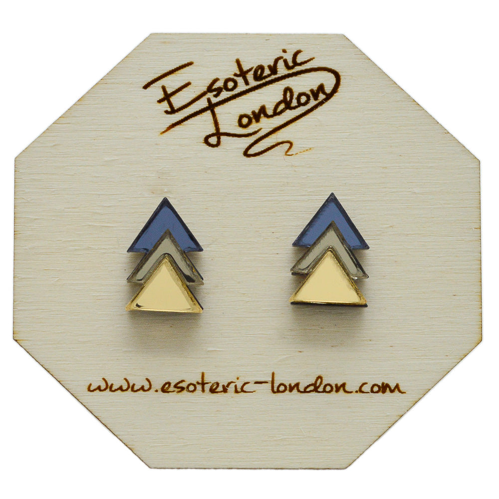 Classic Geometric Stud Earrings - Grey/ Bronze/ Gold
