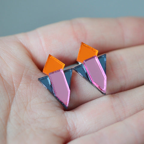 Classic Geometric Stud Earrings - Orange/ Grey/ Pink
