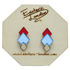 Classic Geometric Stud Earrings - Red/ Blue/ Bronze