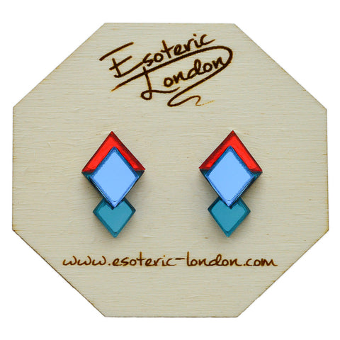 Classic Geometric Stud Earrings - Gold/ Pink/ Green
