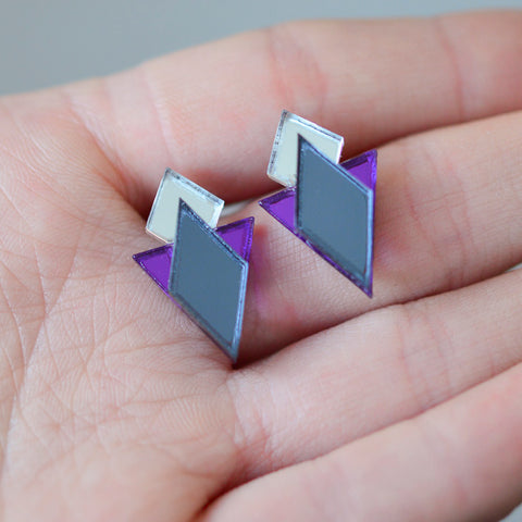 Classic Geometric Stud Earrings - Grey/ Silver/ Purple