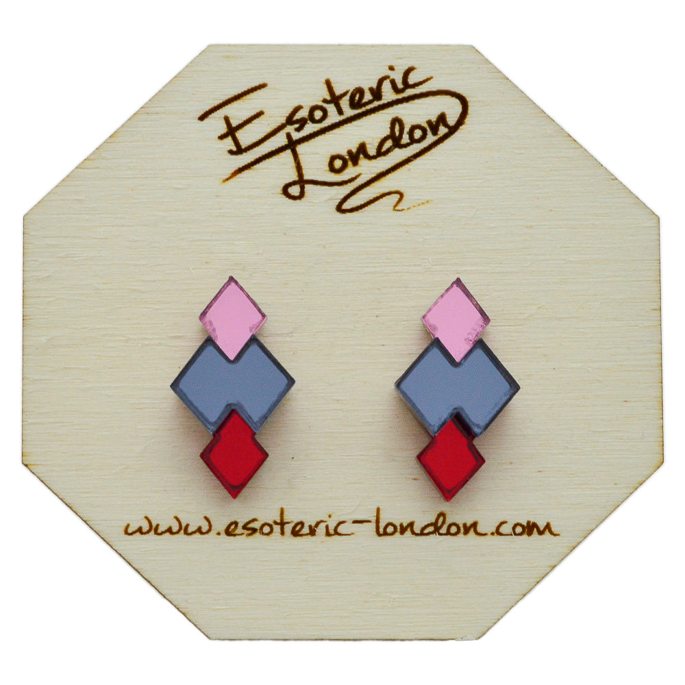 Classic Geometric Stud Earrings - Pink/ Grey/ Red