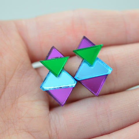 Classic Geometric Stud Earrings - Purple/ Green/ Blue