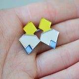 Classic Geometric Stud Earrings - Yellow/ Silver/ Blue