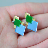 Classic Geometric Stud Earrings - Gold/ Green/ Blue
