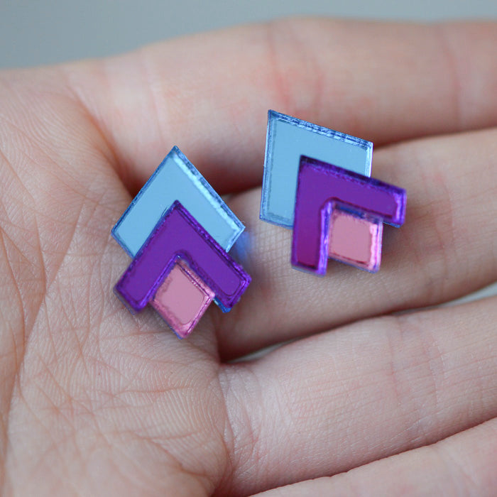 CLASSIC GEOMETRIC STUD EARRINGS -Light Blue/Purple/Pink