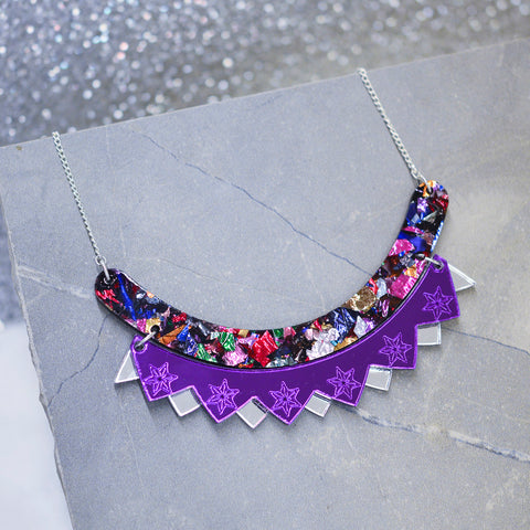 Colour Pop Bib Necklace - Midnight Blue & Gunmetal