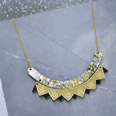 Sunburst Triple Drop Necklace