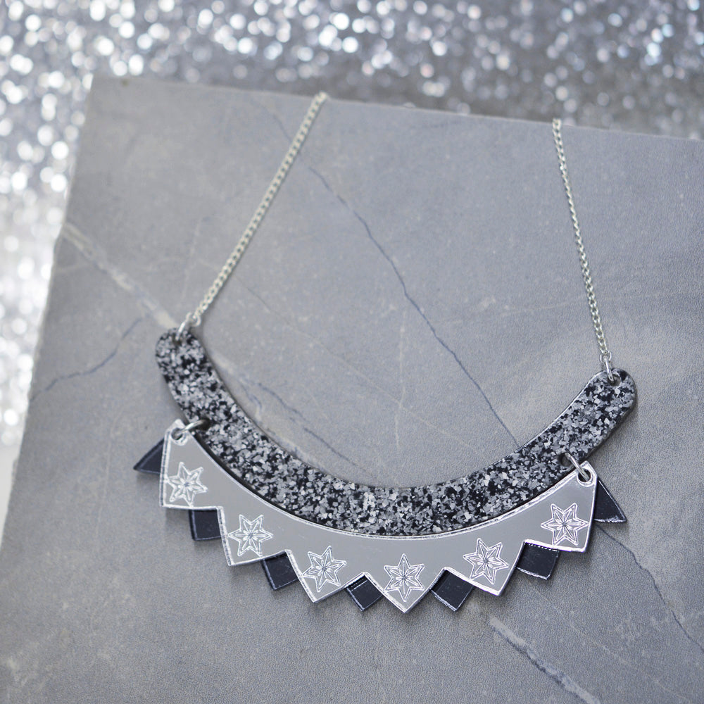 Colour Pop Bib Necklace - Granite, Silver & Gunmetal