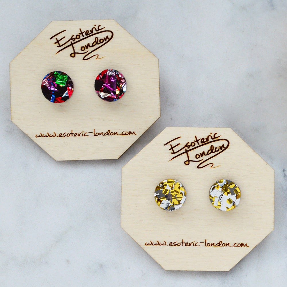 Colour Pop Studs - Gold & Silver Confetti