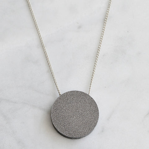 Colour Pop Circle Necklace - Granite & Grey Shimmer
