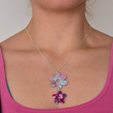Recycled Acrylic Flower Power Dangle Pendant Necklace