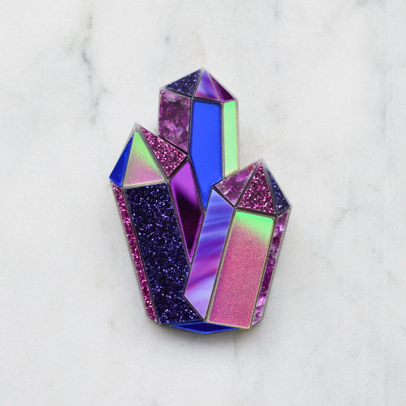 Faceted Crystal Brooch